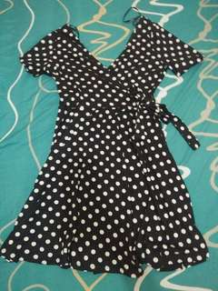 forever 21 wrapped design polka dot dress
