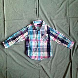 P. Nuts Baby Boy Blue Checkered Longsleeves