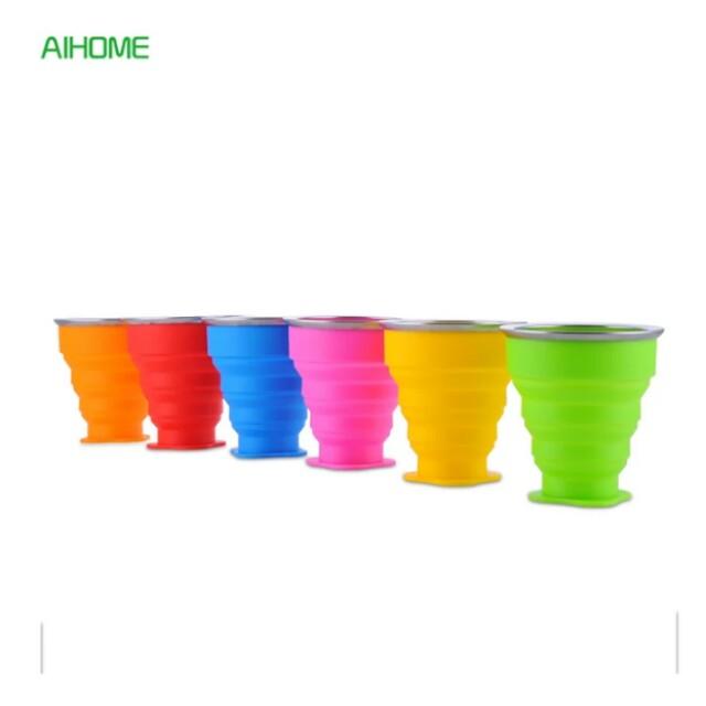 2pcs Portable Water Bottle Silicone Foldable Water Bottles Outdoor Travel Drinking Bottles Drinkwares 240ml