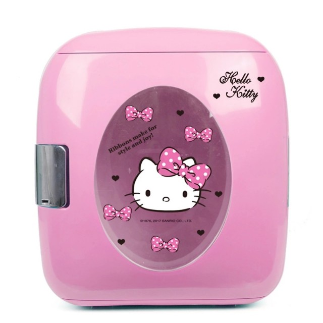 9L Hello Kitty Cute Design Cold Hot Dual Use Car Refrigerator Electric Low  Noise Car Freezer with Visualization Galss Door