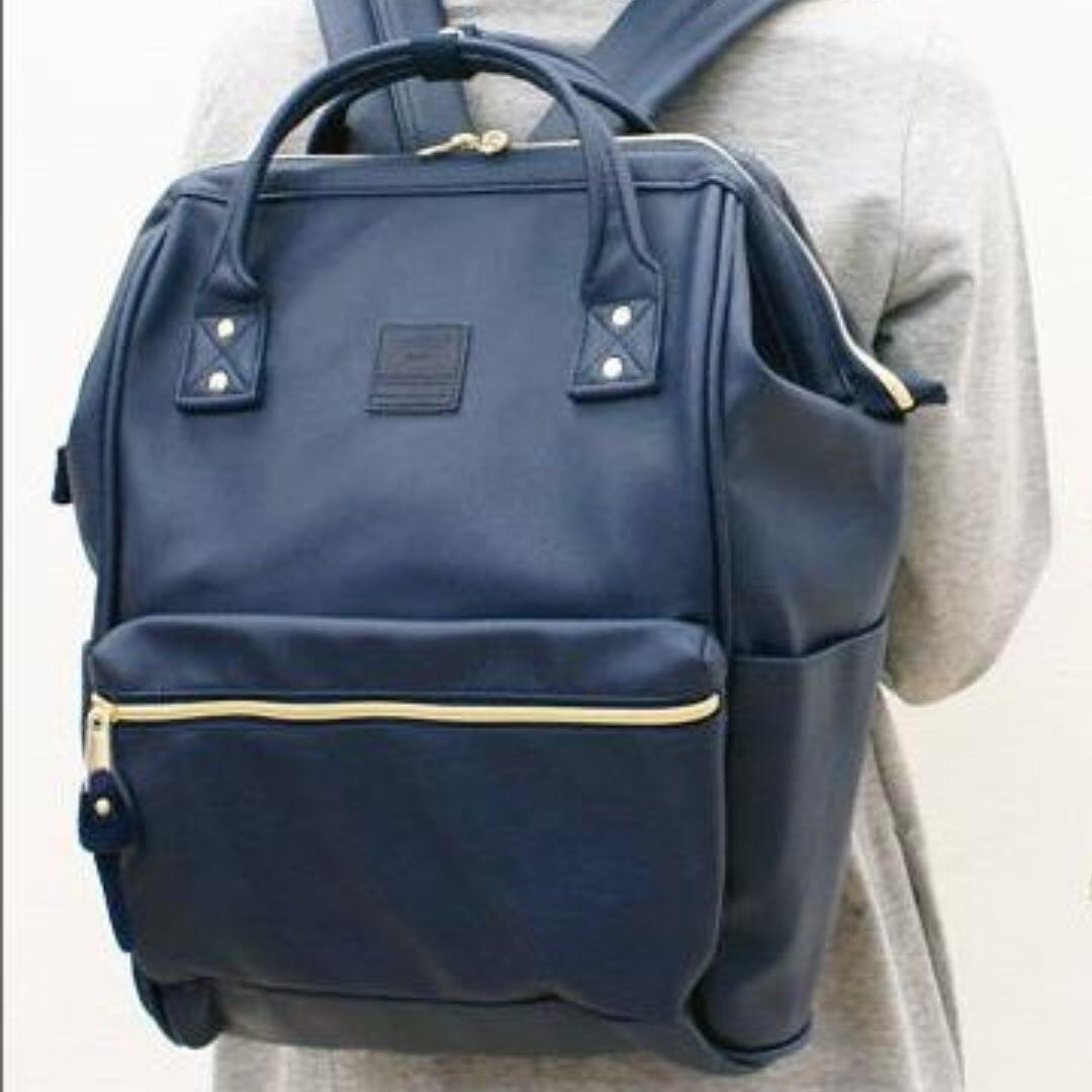 Authentic anello backpack (leather version) Japan - large size Navy ... 8b8a1d71d2