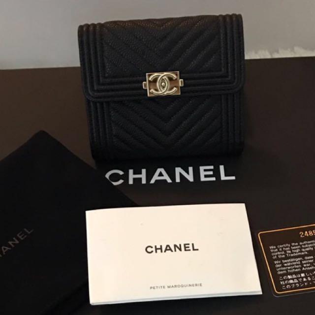 93f5b92bd5145b Chanel Boy Trifold Wallet, Luxury, Bags & Wallets on Carousell