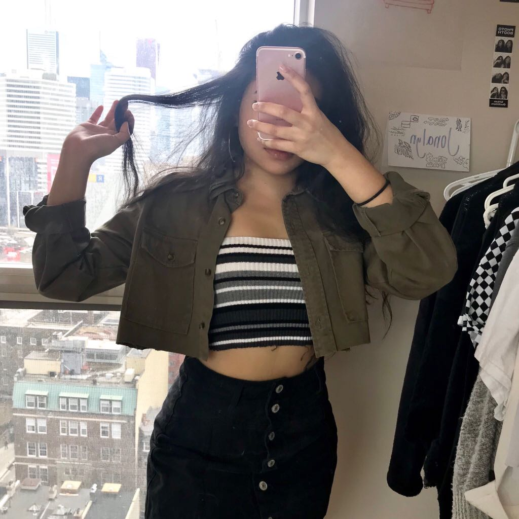 Cropped Army Green Jacket
