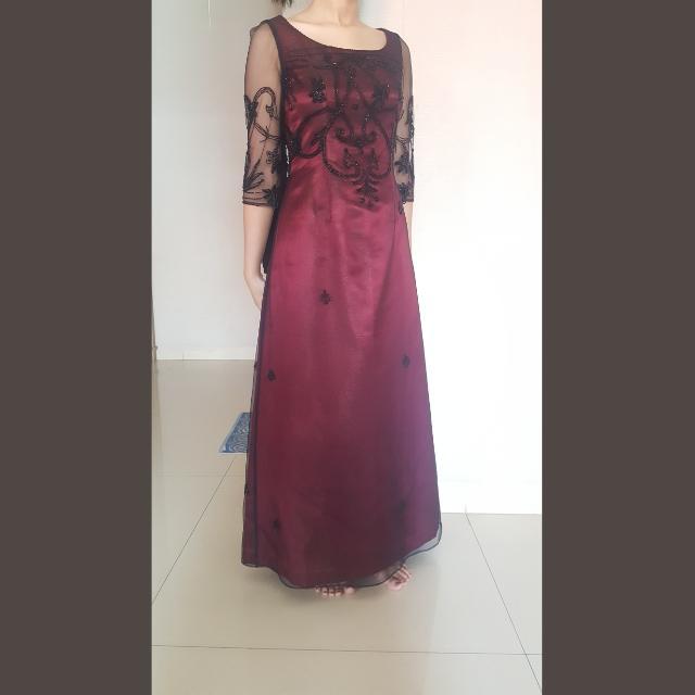 Gaun Pesta Merah Maroon Long Dress Women S Fashion Women S Clothes