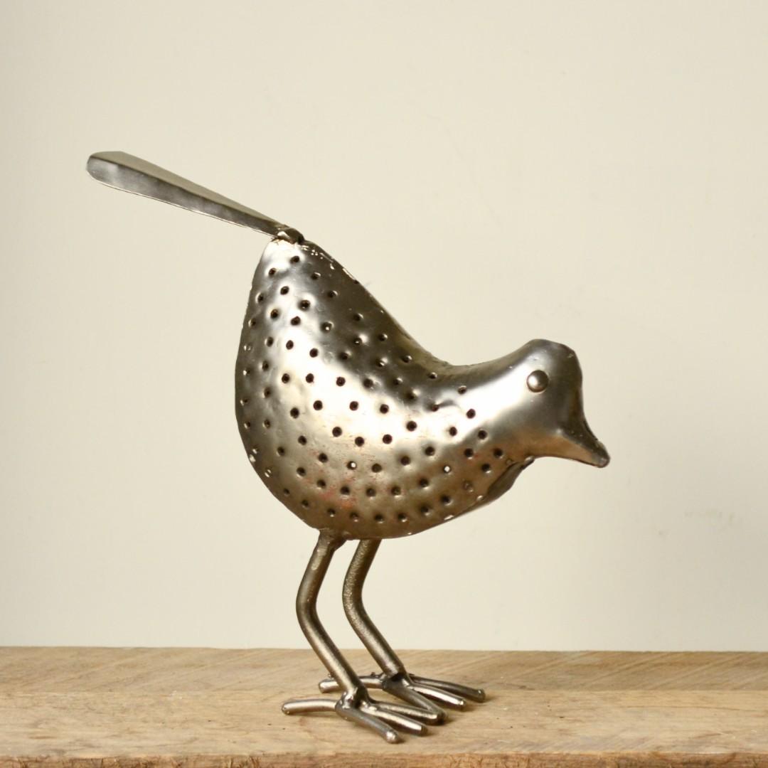 Handmade Punctured Nickel Plated Silver Bird