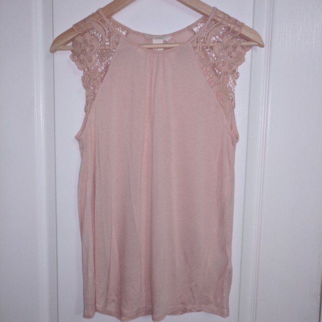 H&M Lace Short Sleeved Pale Blush Top