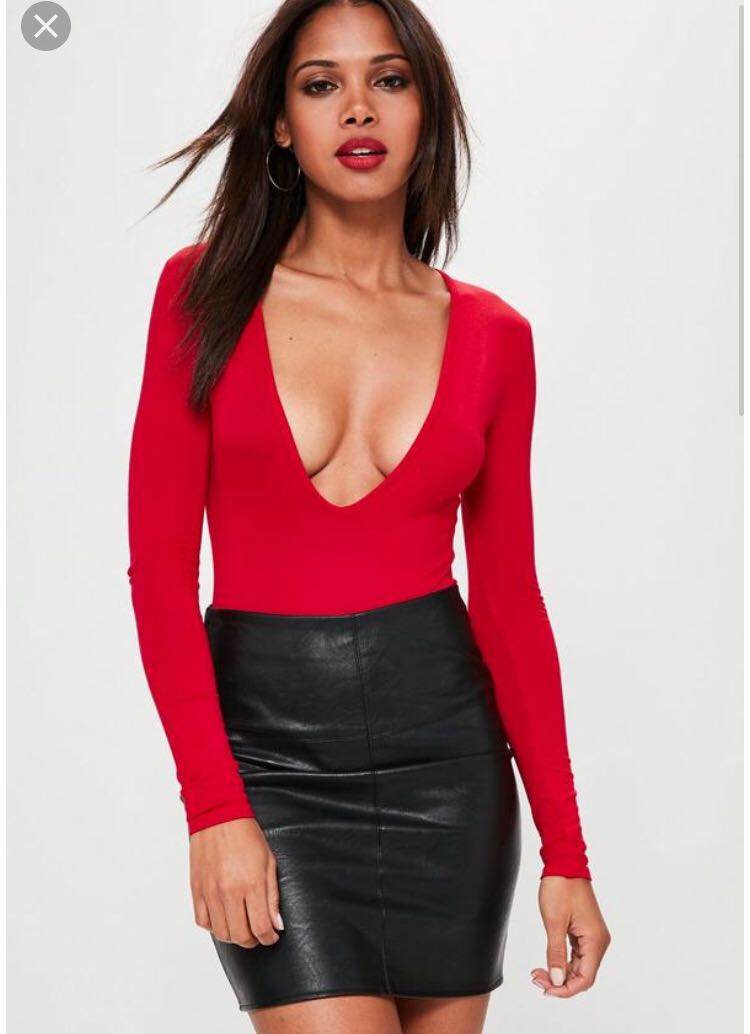 Missguided red bodysuit