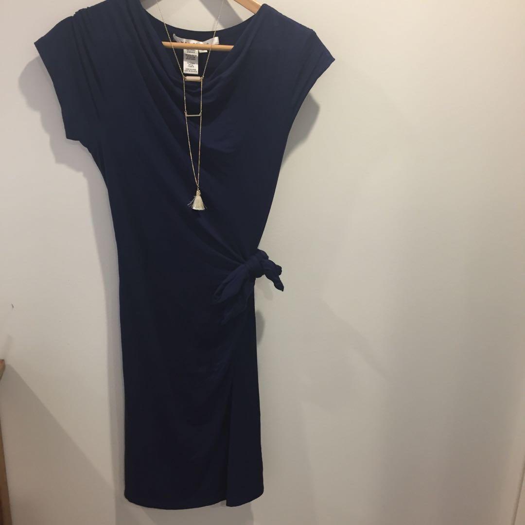 Navy Blue Tie Side Dress