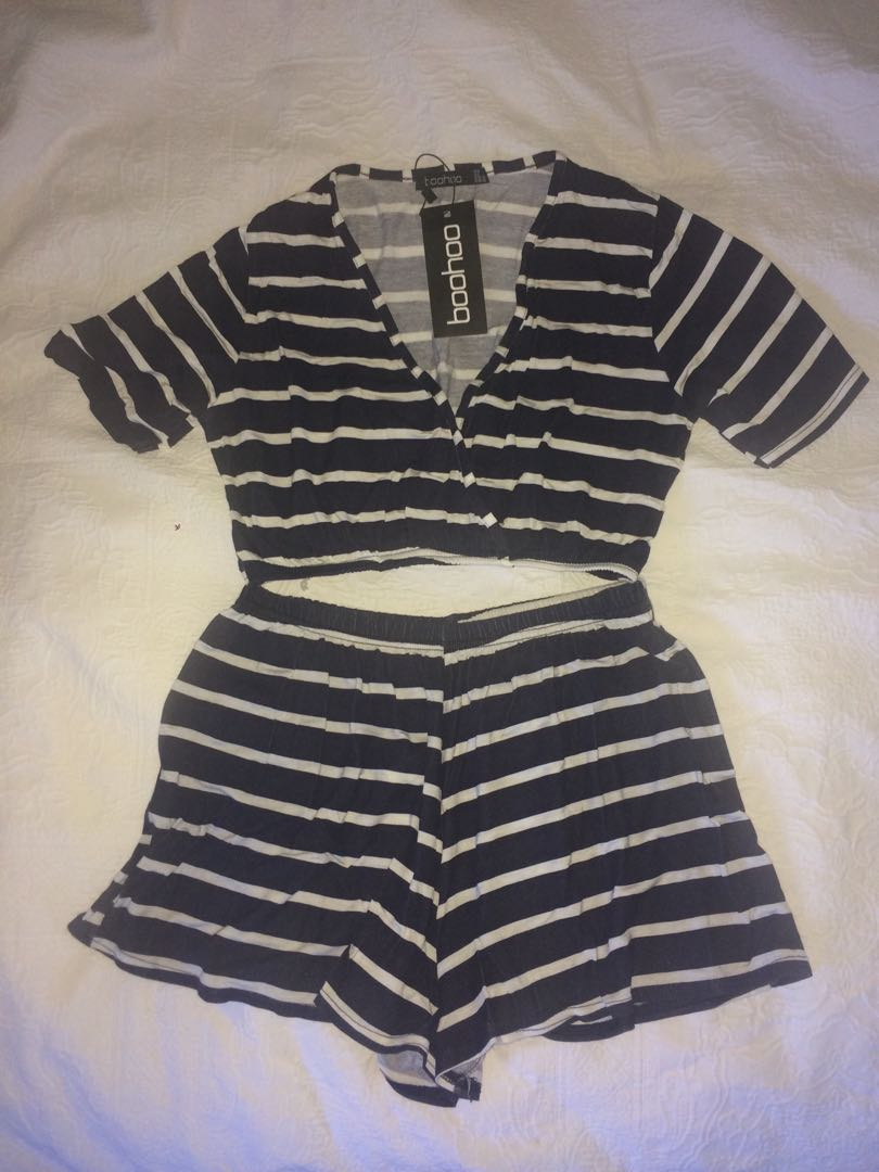 Navy/white striped crop & short set
