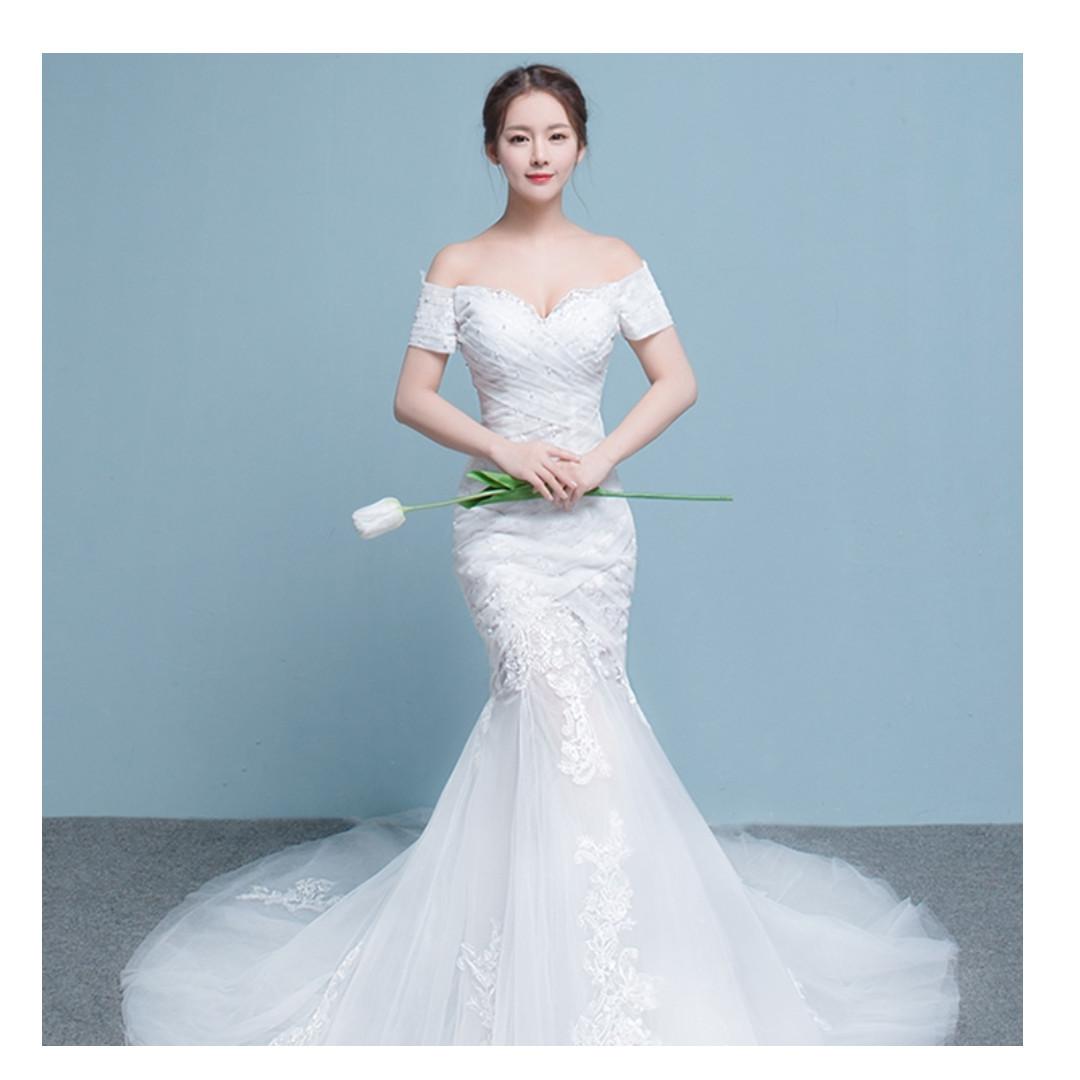 Off the shoulder lace korean mermaid wedding gown/dress, Women\'s ...
