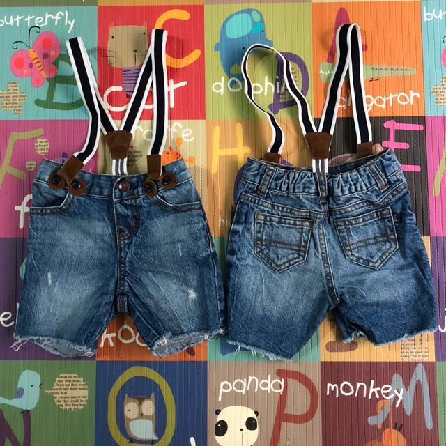 21beb5b85 Osh Kosh B'gosh Denim Shorts with braces, Babies & Kids, Babies ...