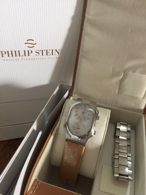 Philip Stein Large with Stainless Steel and Leather Strap