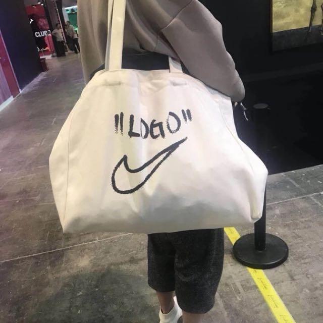 el más baratas promoción servicio duradero PO]limited Nike x Off White Virgil Abloh Big LOGO DIY tote bag ...