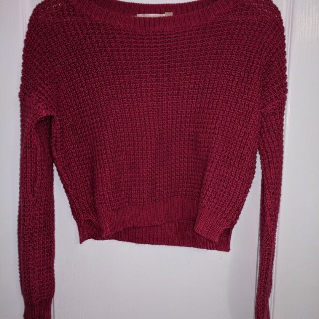 Red-purple Crop Sweater