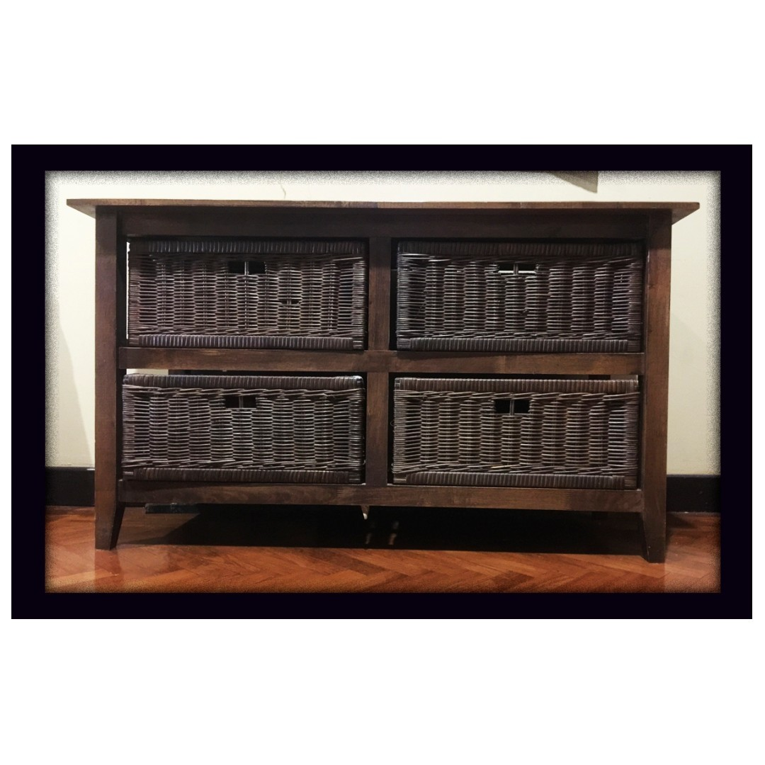 Solid Teak Wood Wicker Chest Of Drawers Rattan Console Table