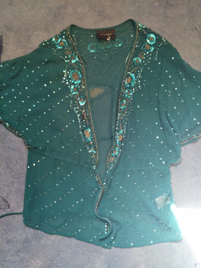 Vintage teal blue sequinned Bolero jacket