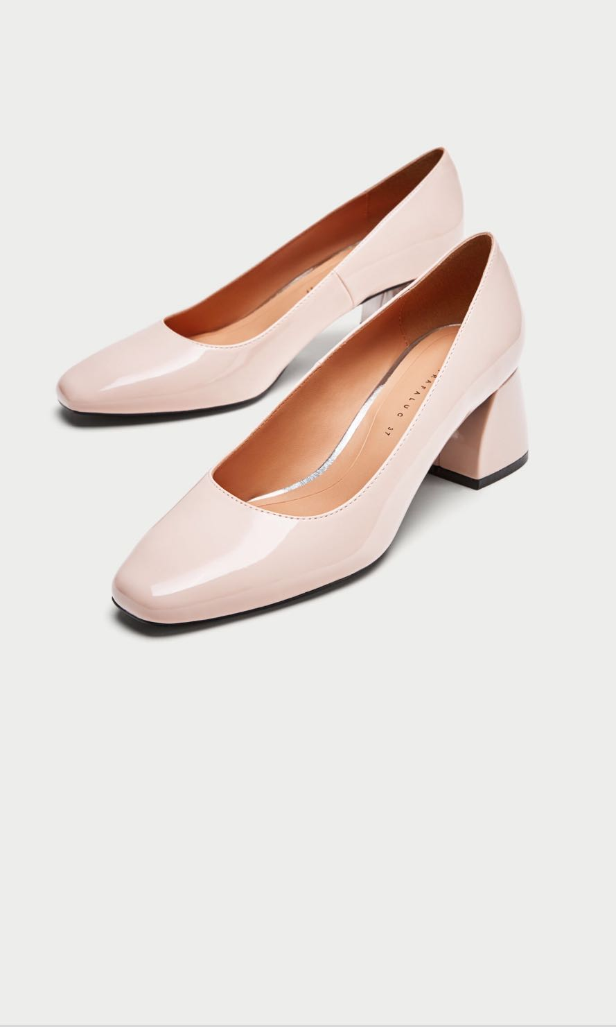6e61c336238 Zara Mid Heel Patent Court Shoes Blush Pink