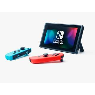 Nintendo switch neon with 2 Mario games + kit