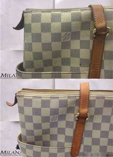 Louis Vuitton Neverfull With Dark Handles And Yellowish Monogram Cleaned Beautifully Back To It's Clean Self !!! Another Satisfied Customer With Milan Artisan !!!