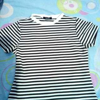 Denise Black & White Crop Top Stripes