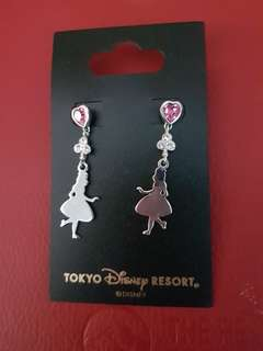 Disney ear rings with pink heart shaped crystal