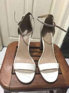 Aldo white silver heels