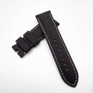 (2452) 全新 24mm 啞黑色牛皮通用錶帶配精鋼針扣 合適 Panerai, Seiko, Bell & Ross, Tudor 等等