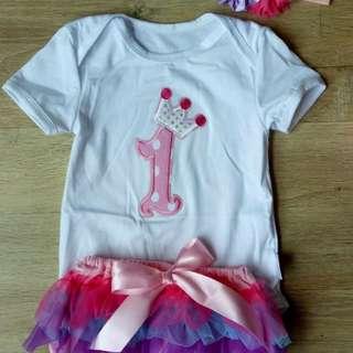Baby Girl 1st Birthday Romper + Tutu Set