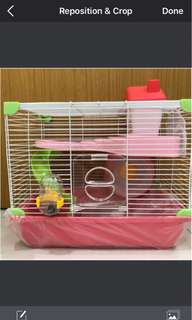 2 level hamster cage in pink