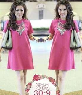Pink Plain Dress