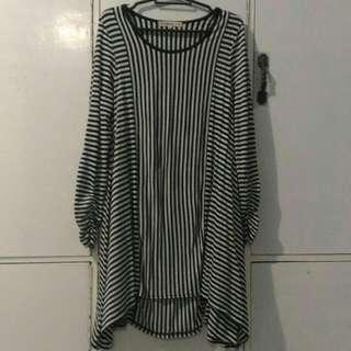 Black and white stripes vertical white dress three forth medium cutie dress formal wear