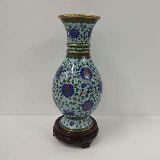 Cloisonne Ornamental Vase Hand-painted fish-tail shape in greenish glaze with design of flowers