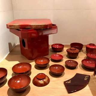 Japanese Lacquer Bowls Plates Tray