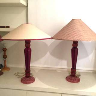 Vintage Italian Decorative Red Glass Lamp (Pair)