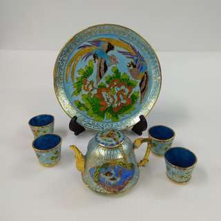 Fine Chinese Cloisonne teapot cups Ornamental Hand-painted miniature enamel light blue colour tea set