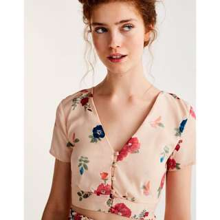 Pull&Bear Floral button down crop bralet pnb