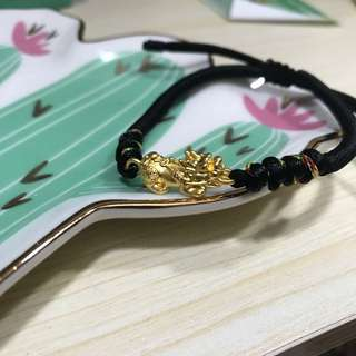 pure gold 金錢貔貅 手繩