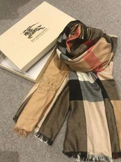 Genuine Burberry Check lightweight wool and silk fringed scarf