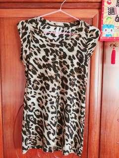 豹紋款棉質長身裙