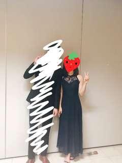 深藍 小禮服 gradin裙 晚宴 hall dress party dress 長裙 gala dinner