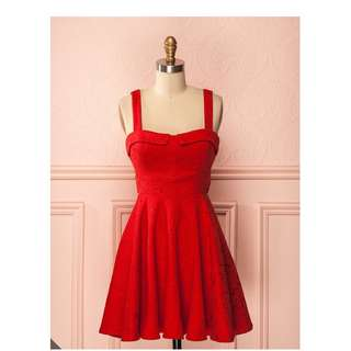 Ruby Red Summer Retro Dress Size M Pinup Vintage Rockabilly Red Riding Hood