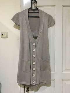 [FREE ONGKIR] outerwear knit wrn grey / abu-abu