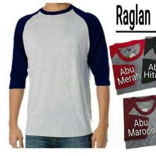 Kaos Polos T-shirt RAGLAN Lengan ¾