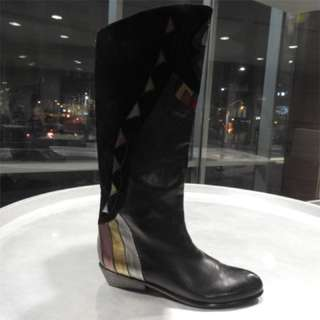 Black leather boots with metallic and suede detail