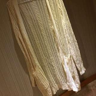 🚚 杏色長版針織罩衫