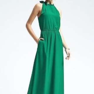 Banana Republic Emerald Green Tie Up Maxi Dress PETITE