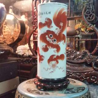 Antiques Early Republic China Chinese Stationary Cylinder Vase Red Lion Painting.