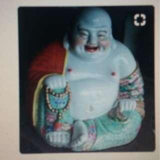 Vintage China Gindezhen Porcelain Statue Laufhing Buddha.