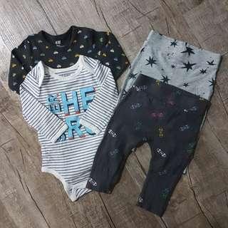 EUC baby boy romper and leggings