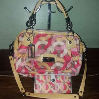 Repriced Set Coach kristin dual sling Bag and wallet